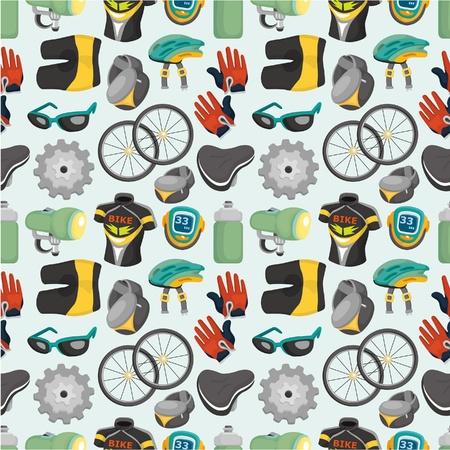 cartoon bicycle equipment seamless pattern Stock Vector - 9635565