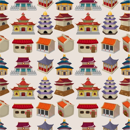 temple tower: cartoon Chinese house seamless pattern Illustration