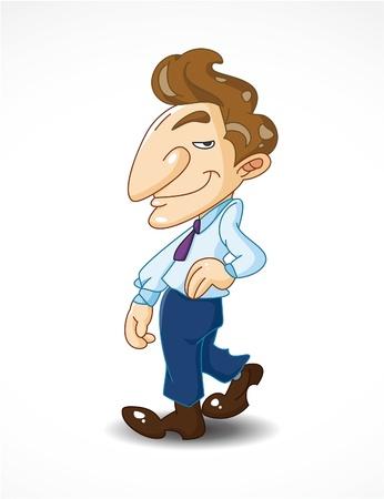 businessman shoes: funny cartoon office worker Illustration