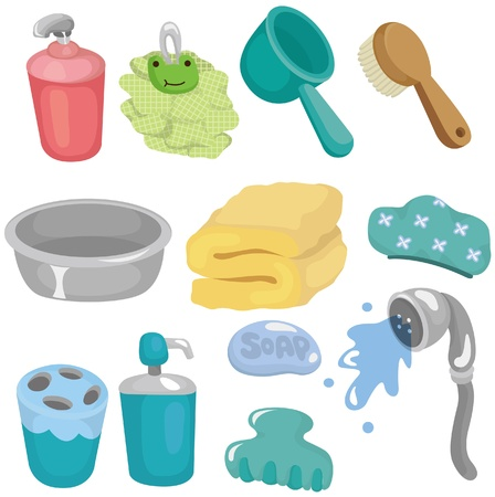 cartoon Bathroom Equipment icon set Vector