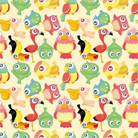 cartoon bird seamless pattern Vector