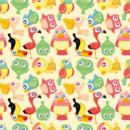 cartoon bird: cartoon bird seamless pattern