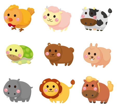 cartoon animal icon set Vector