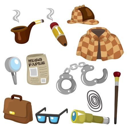 Cartoon detective equipment icon set Vector