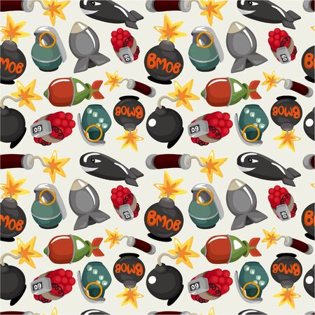 cartoon bomb seamless pattern Vector