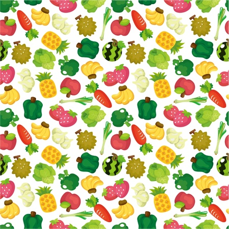 cartoon Fruits and Vegetables seamless pattern Vector