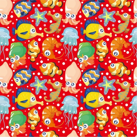 squid: cartoon fish seamless pattern