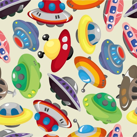 cartoon ufo spaceship seamless pattern Vector