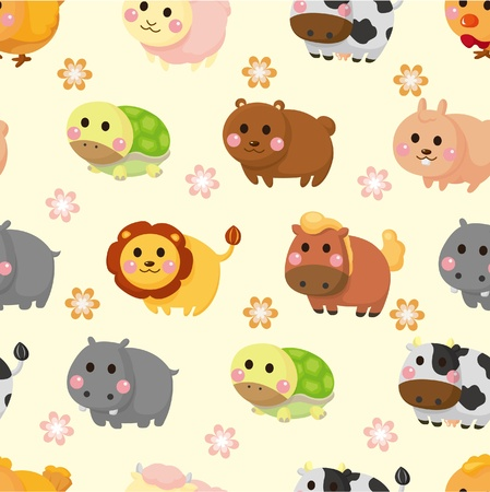 cartoon animal seamless pattern Vector