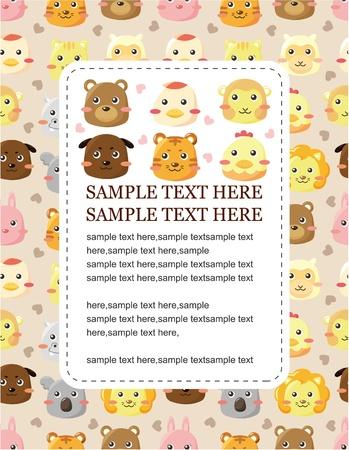 cartoon animal head card Stock Vector - 9673760