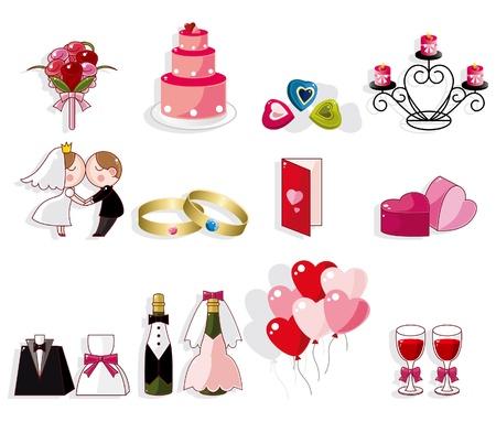 cartoon wedding icon set Vector