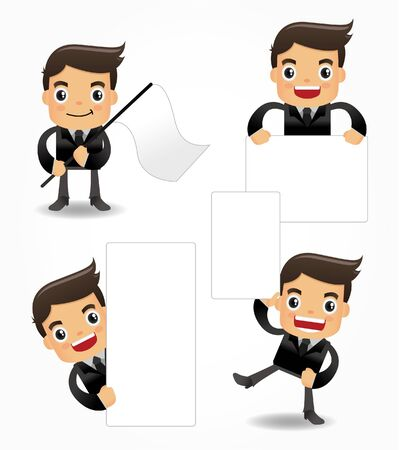 set of funny cartoon office worker icon Stock Vector - 9673778