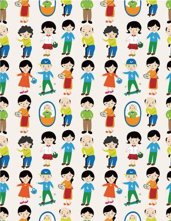 seamless cartoon family pattern Stock Vector - 9673781