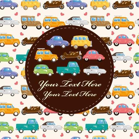 autos: cartoon retro car card