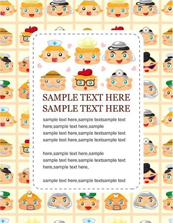 cartoon people face seamless pattern Stock Vector - 9673784