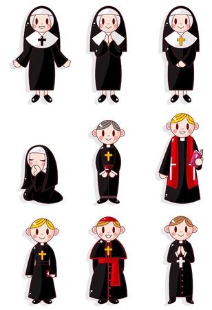 sacerdote: Cartoon sacerdote y la monja conjunto de iconos  Vectores