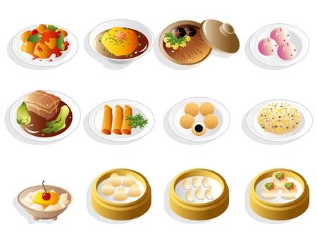 만화 중국 음식 아이콘 세트 일러스트