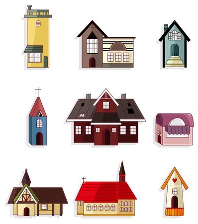 vibrant cottage: cartoon house icon set