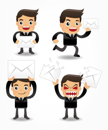 character: set of funny cartoon office worker with email icon Illustration