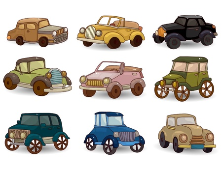 cartoon retro car icon set Vector
