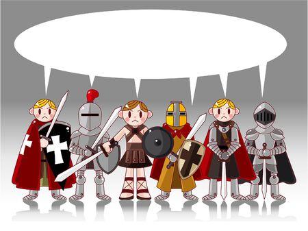 war decoration: cartoon knight card Illustration