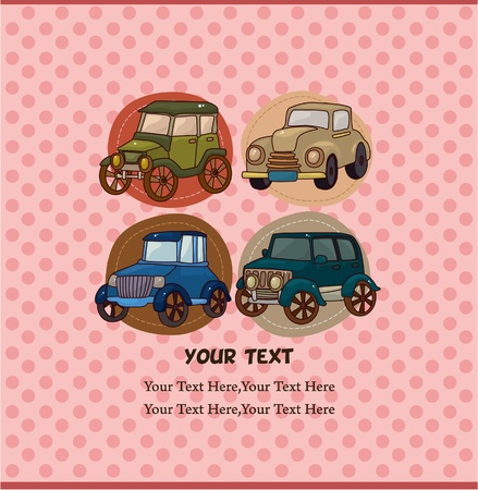 cartoon retro car card Vector