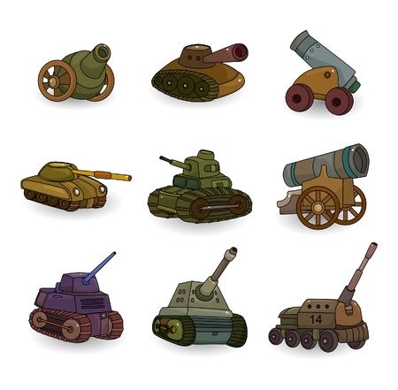 cartoon Tank/Cannon Weapon set icon Vetores
