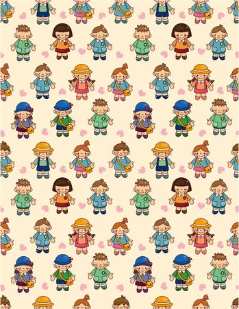 cartoon kid seamless pattern Stock Vector - 9673818