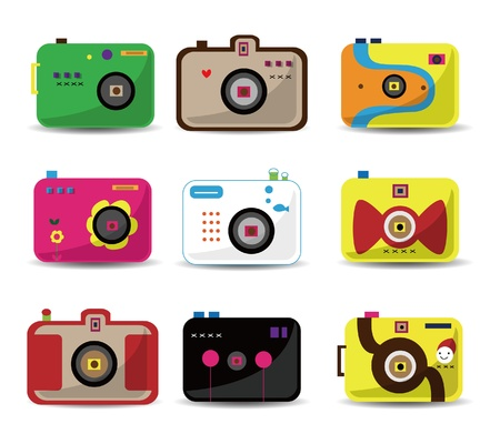 camera icon: cartoon camera icon set