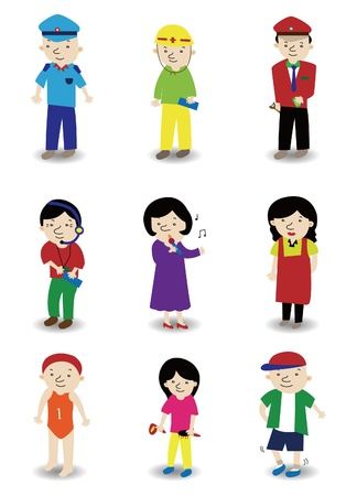 cartoon people job icon set Stock Vector - 9673821