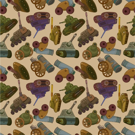 war decoration: cartoon TankCannon Weapon seamless pattern