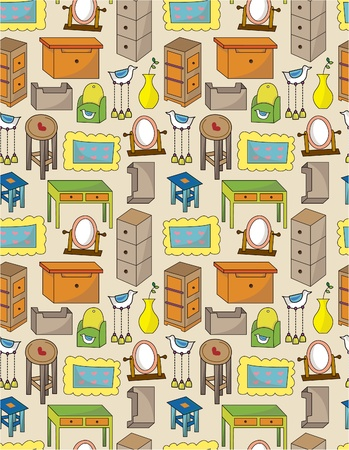 cartoon furniture seamless pattern Stock Vector - 9673826