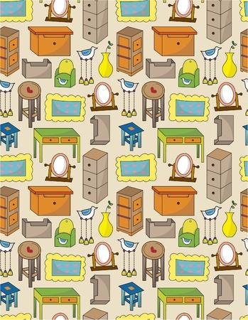 cartoon furniture seamless pattern Stock Vector - 9673826