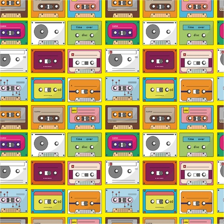 eighties: music tape seamless pattern