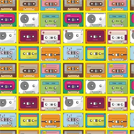 seventies: music tape seamless pattern