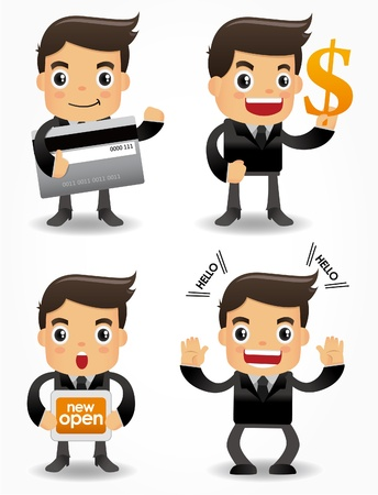 sales manager: funny cartoon office worker with sale Promotions icon set Illustration