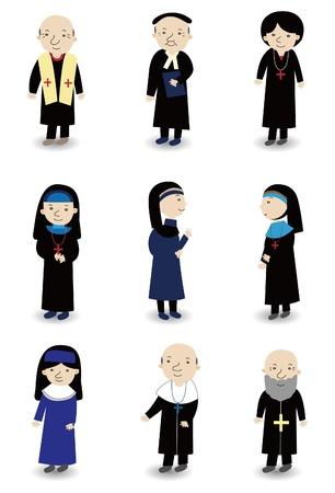 caricatura sacerdote y conjunto de iconos de monja