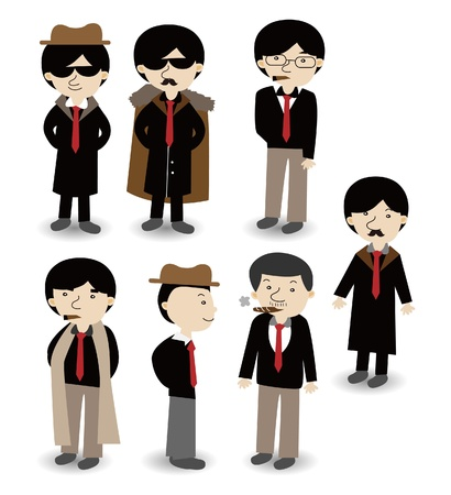 cartoon gangster: cartoon mafia icon set