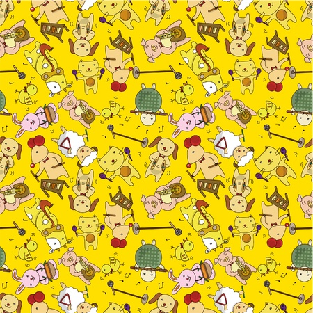 seamless cartoon animal play music pattern Vector