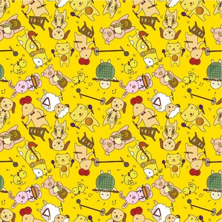 fife: seamless cartoon animal play music pattern
