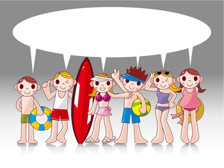 beach ball girl: summer people card