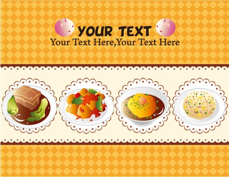 chinese food: cartoon Chinese food card