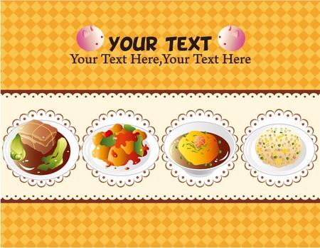 cartoon Chinese food card Vector