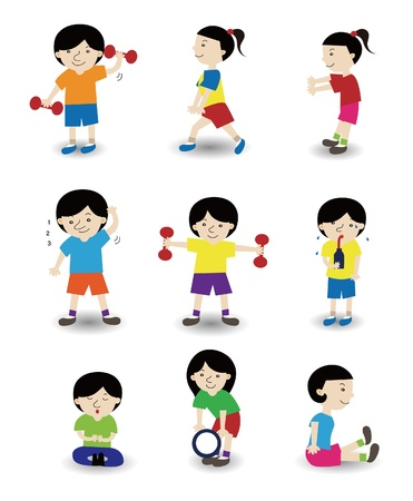 cartoon sport people icon set Vector