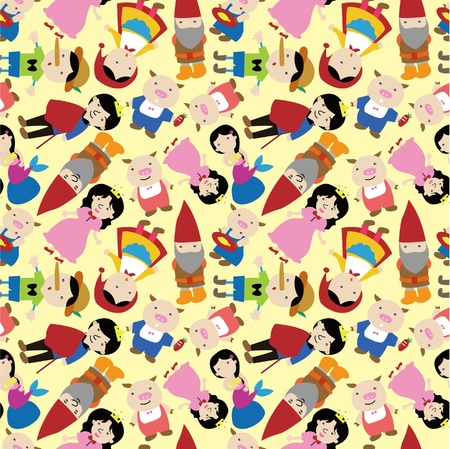 cartoon little red riding hood: cartoon story people seamless pattern