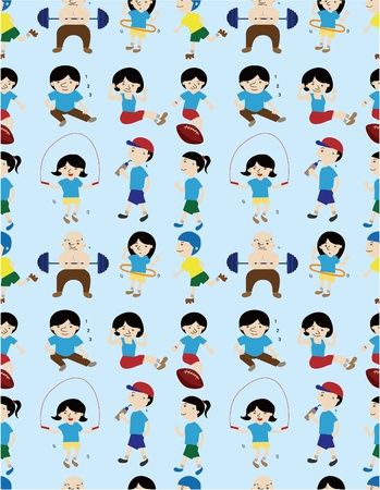 cartoon sport people seamless pattern Vector