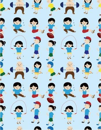 hula: cartoon sport people seamless pattern