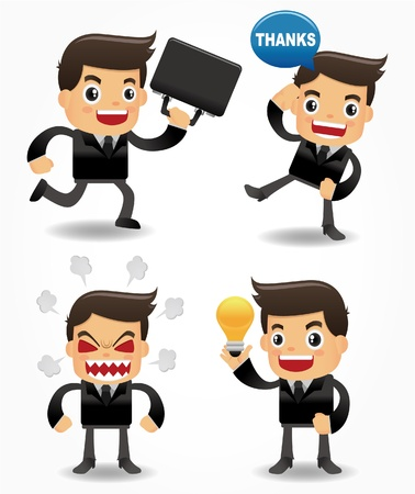 character cartoon: set of funny cartoon office worker