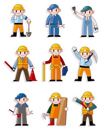 obrero caricatura: icono de trabajador de dibujos animados Vectores