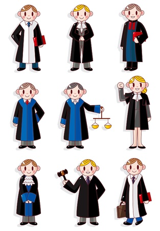 trials: cartoon Judge icon set
